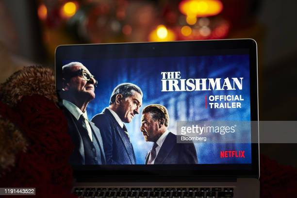 "The home screen for the Netflix Inc. Original movie ""The Irishman"" is displayed on an Apple Inc. Laptop computer in an arranged photograph taken in..."