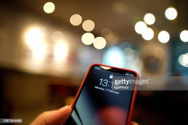 The home screen is seen in an Apple iPhone in this photo illustration in Warsaw Poland on February 11 2019