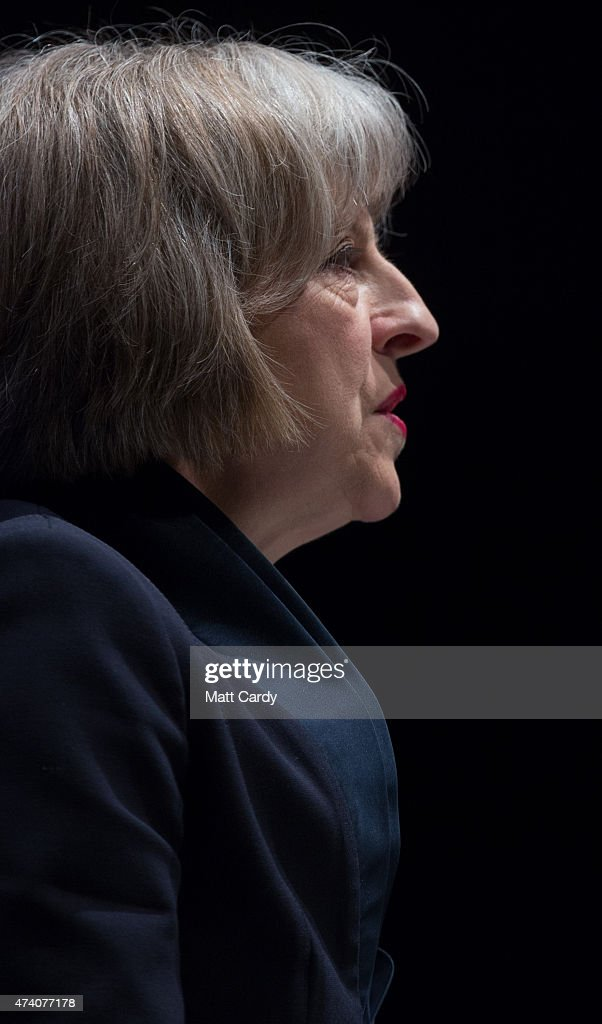 The Home Secretary, Theresa May addresses officers at the Police Federation annual conference on May 20, 2015 in Bournemouth, England. In her first speech since being reappointed Home Secretary, Mrs May said she wanted to stop the 'tick box culture' of policing and warned officers to 'stop crying wolf' as she spoke at the Bournemouth International Conference centre.
