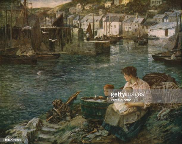 The Home Squadron' A woman and her children sit among lobster pots overlooking the harbour in a Cornish fishing village waiting for her fisherman...