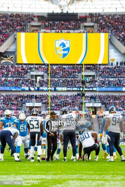 The home team LA Chargers logo is displayed on a big screen during the NFL game between the Tennessee Titans and the Los Angeles Chargers on October...