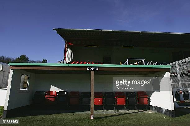 The home team dugout is seen at Histon's ground The Bridge prior to the FA Cup match between Histon FC and Shrewsbury Town on November 12 2004 in...