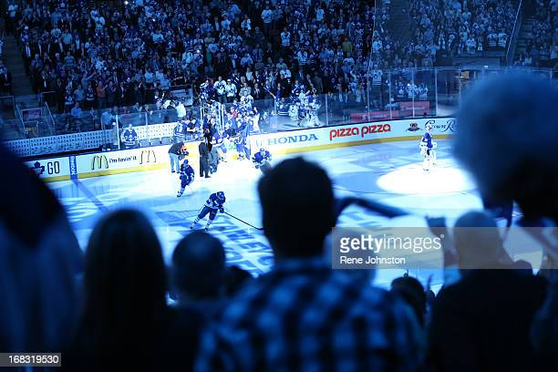 TORONTO ON MAY 8 The home team hits the ice as the fans cheer The home team hits the ice as the Leafs vs Bruins Game 4 in the first round of the NHL...