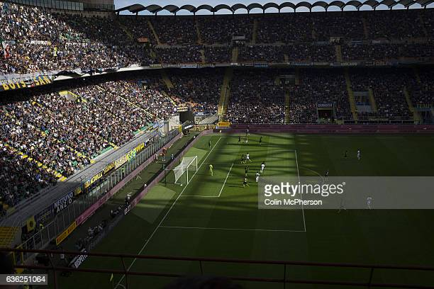 The home team on the defensive in the firsthalf at the Stadio Giuseppe Meazza also known as the San Siro as Internationale took on Cagliari in an...