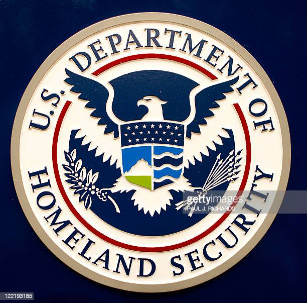 The Homeland Security logo is seen August 26 shortly before a press conference by Homeland Security Secretary Janet Napolitano regarding Hurricane...