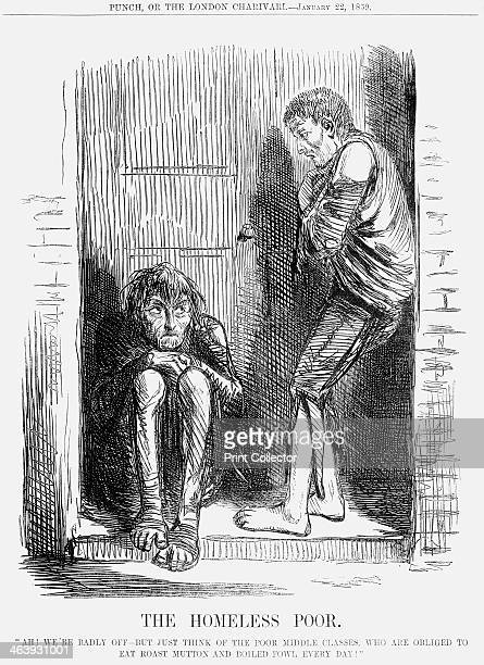 'The Homeless Poor 1859 Two members of the 'ragged' underclass are shown sheltering in a doorway emphasising the point that they do not have any...