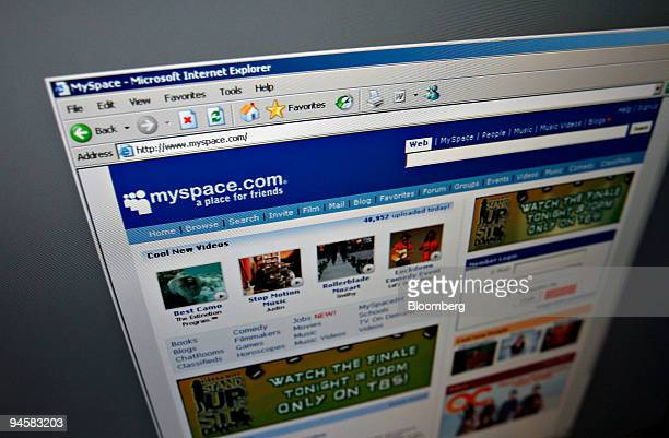 The homepage of MySpacecom is arranged on a computer screen for a photograph in New York Friday November 17 2006 Vivendi SA's Universal Music Group...