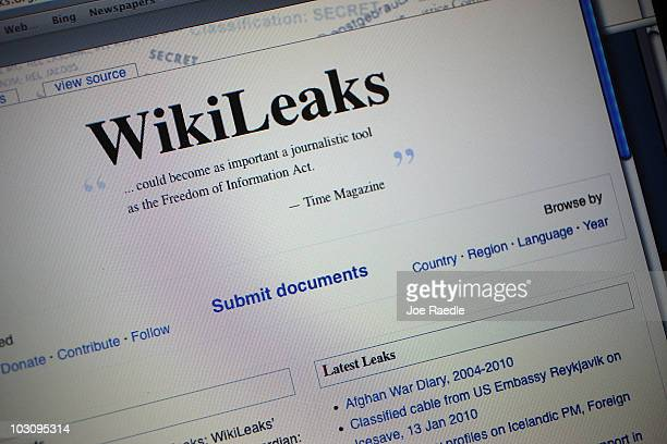 The homepage of the WikiLeaksorg website is seen on a computer after leaked classified military documents were posted to it July 26 2010 in Miami...