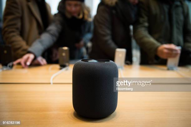 The HomePod speaker is displayed on the first day of sales at an Apple Inc store in New York US on Friday Feb 9 2018 Apple Inc's newHomePodspeaker...