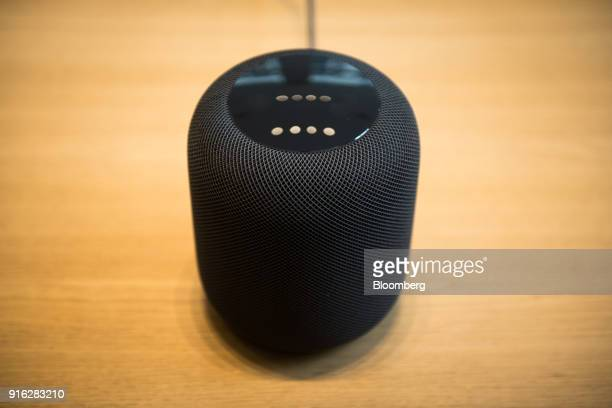 The HomePod speaker is displayed on the first day of sales at an Apple Inc store in New York US on Friday Feb 9 2018 Apple Inc's new HomePod speaker...