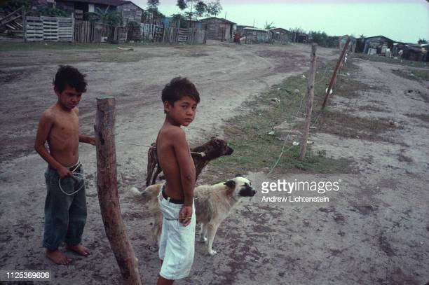 The homes of maquiladora workers living on the Mexican side of the border but working in low paying factory jobs for American companies are...