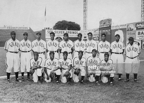 The Homestead Grays pose in Pittsburgh in 1943 for their team portrait. In the back row, Cool Papa Bell is second from left, and Buck Leonard, second...