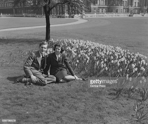 The Hon Andrew Elphinstone and his fiance Jean Gibbs 11th April 1946 Elphinstone is the third child of Sidney BullerFullertonElphinstone 16th Lord...