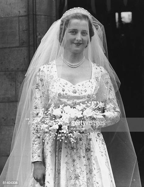 The Hon Frances Roche at Westminster Abbey for her wedding to Viscount Althorp 1st June 1954 She became Lady Spencer and her daughter became Princess...
