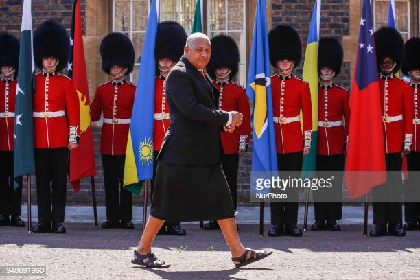 The Hon Josaia Vereqe Bainimarama of Fiji arriving to the Executive Session of the Commonwealth Heads of Government in London England April 19 2018