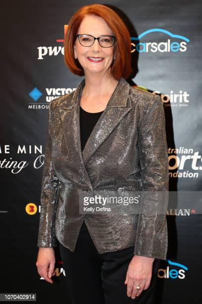 The Hon Julia Gillard AC attends the Prime Ministers' Sporting Oration at The Melbourne Convention and Exhibition Centre on November 21 2018 in...