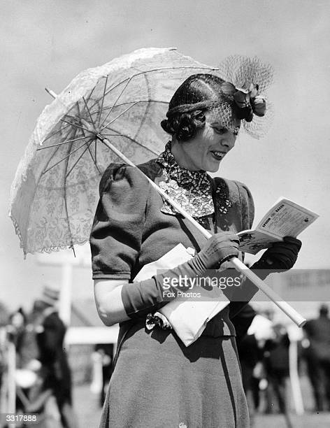 The Hon Lady Chichester complete with parasol at Oaks Day Epsom races