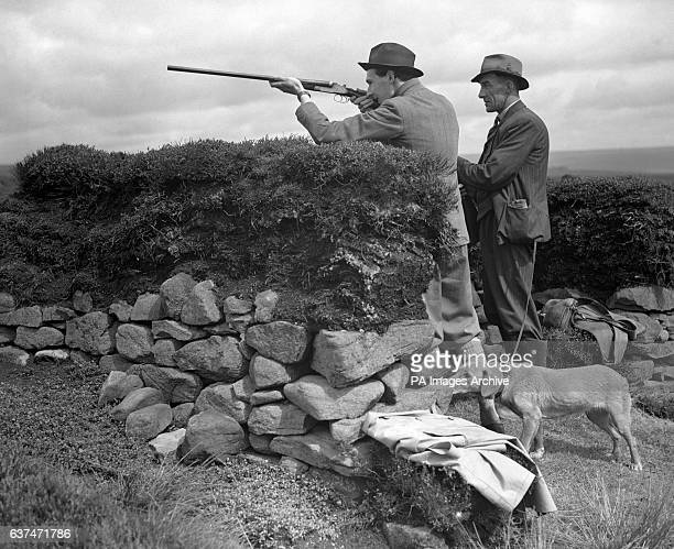 The Hon Major David Ormsby Gore in the butts on the day the Duke of Devonshire opened grouse shooting season over the Bolton Abbey Moors Yorkshire
