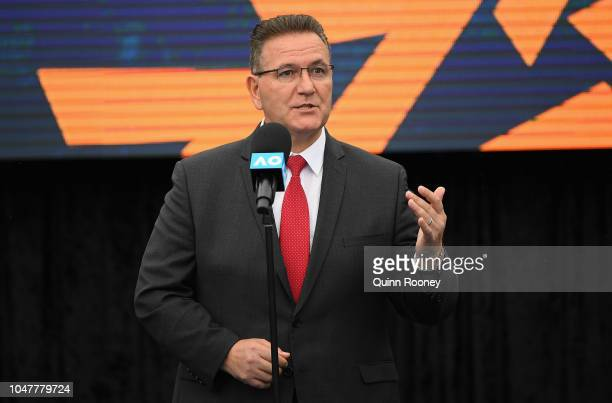 The Hon Victorian Minister for Sport Tourism and Major Events John Eren MP speaks to the media during the 2019 Australian Open Official Launch at...
