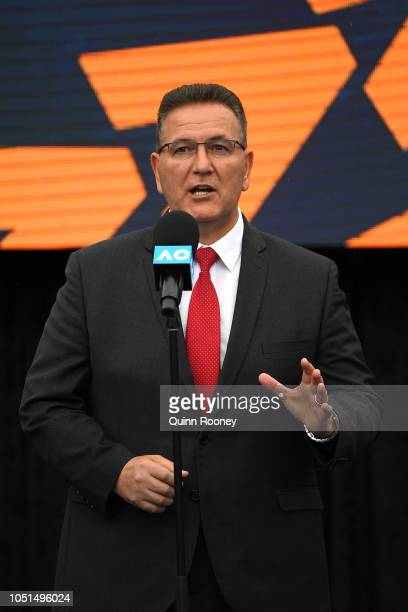 The Hon Victorian Minister for Sport Tourism and Major Events John Eren MP talks to the media during the 2019 Australian Open Official Launch at...