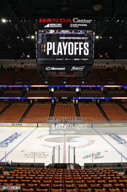 The Honda Center with rally towels on all seats before the fans come into the arena for Stanley Cup playoffs first round game 1 between the San Jose...