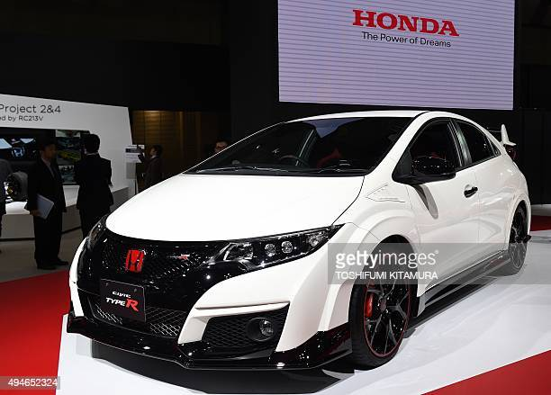 The Honda Civic TypeR is seen on display at the Tokyo Motor Show in Tokyo on October 28 2015 The Tokyo Motor Show kicks off with a focus on cars that...