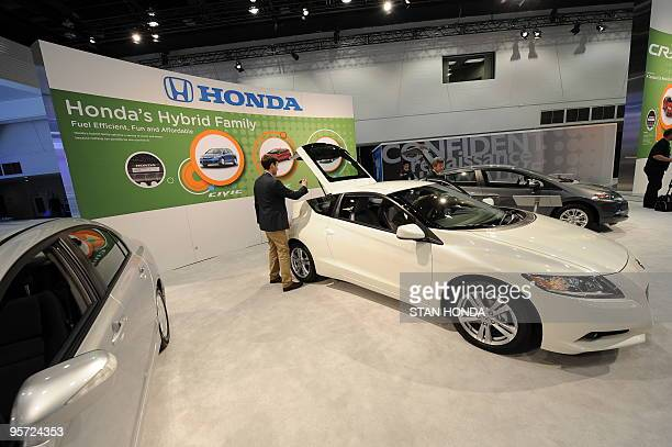 The Honda hybrid cars Civic , CR-Z and Insight are on display during the the second press preview day at the 2010 North American International Auto...
