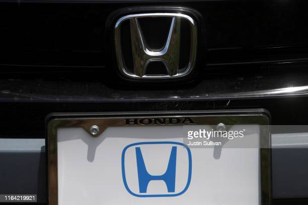 The Honda logo is displayed on a brand new Honda car on the sales lot at Marin Honda on July 25, 2019 in San Rafael, California. The State of...