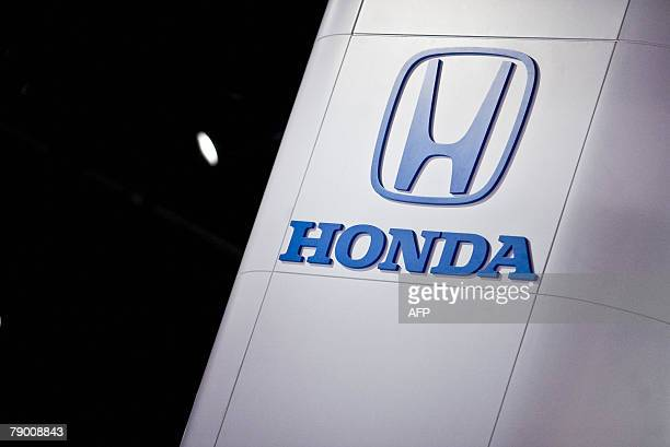 The Honda logo is seen at the 2008 North American International Auto Show in Detroit 15 January 2008 AFP PHOTO/Geoff ROBINS