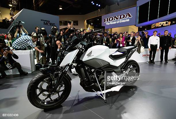 The Honda Riding Assist Motorcycle is displayed after it was unveiled at a Honda press event at CES 2017 at the Las Vegas Convention Center on...