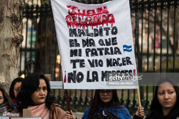 The Honduran community in Madrid marching against President elect Juan Orlando Hernandez calling for democracy and peace in Honduras.