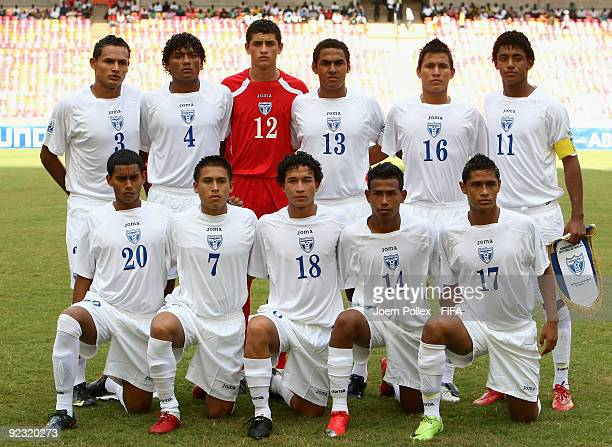 The Honduras team is pictured prior to the FIFA U17 World Cup Group A match between Honduras and Argentina at the Abuja National Stadium on October...