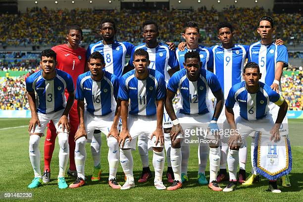 The Honduras team line up ahead of the Men's Semifinal Football match between Brazil and Honduras at Maracana Stadium on Day 12 of the Rio 2016...