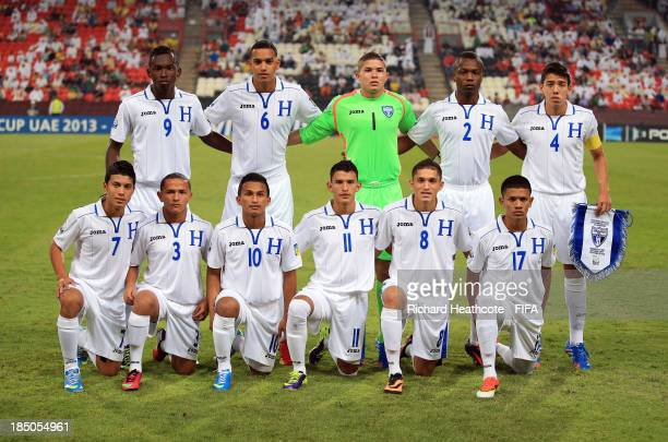 The Honduras team line up during the FIFA U17 World Cup UAE 2013 group A match between United Arab Emirates and Honduras at the Mohamed Bin Zayed...