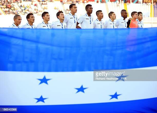 The Honduras team line up during the FIFA U17 World Cup UAE 2013 Quarter Final match between Honduras and Sweden at the Khalifa Bin Zayed Stadium on...