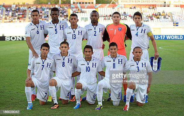 The Honduras team line up during the FIFA U17 World Cup UAE 2013 Quarter Final match between Honduras and Sweden at the Khalifa Bin Zayed Stadium on...