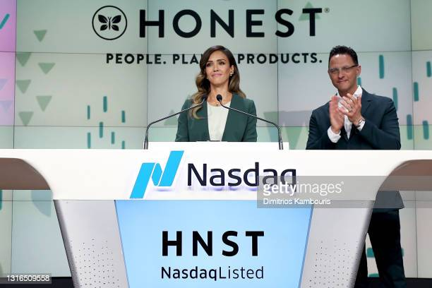 The Honest Company founder and chief creative officer Jessica Alba and The Honest Company CEO Nick Vlahos ring the Nasdaq Stock Market opening bell...