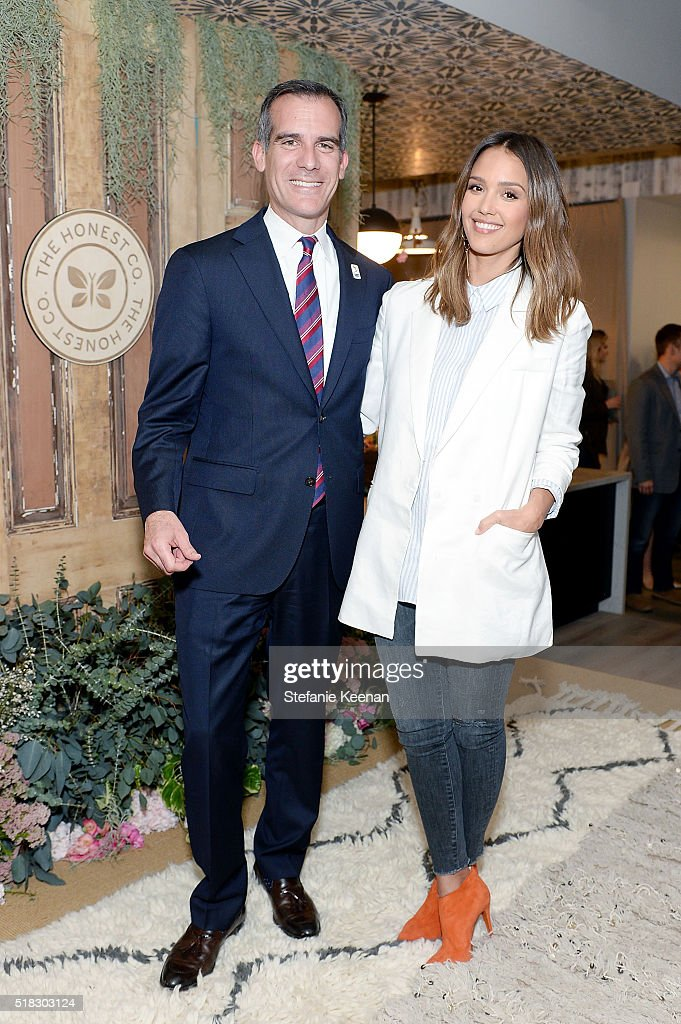 The Honest Company hosted a conversation with Founder Jessica Alba and First Lady of Los Angeles, Amy Elaine Wakeland, for the Getty House Foundation Women's Leadership Series. Following, Mayor Eric Garcetti welcomed The Honest Company with co-founders Jessica Alba and Sean Kane to Los Angeles with a special ribbon cutting ceremony and proclamation on March 30, 2016 in Beverly Hills, California.
