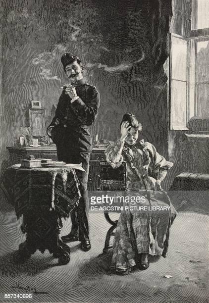 The honeymoon painting by Tihamer Margitay woodcut by Richard Bong from Moderne Kunst illustrated magazine published by Richard Bong 18911892 Year VI...