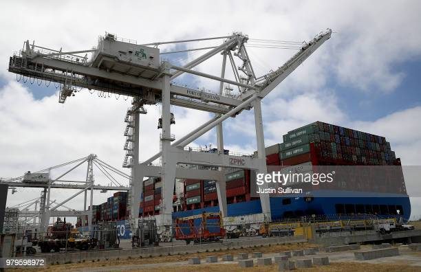 The Hong Kong based CSCL East China Sea container ship sits in a berth at the Port of Oakland on June 20, 2018 in Oakland, California. U.S. President...