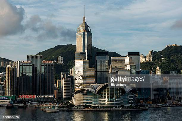 The Hong Kong Convention and Exhibition Centre center bottom and other commercial and residential buildings standing on Hong Kong island are seen...
