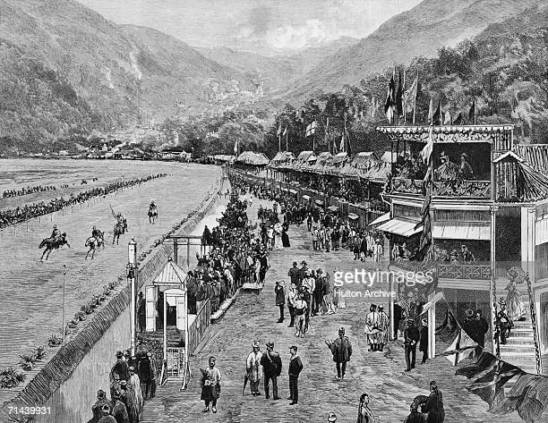The Hong Kong Derby the annual race meeting of the Hong Kong Jockey Club takes place in the Happy Valley Hong Kong circa 1880