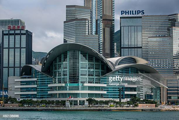 The Hong Kong skyline and Convention Exhibition Centre is viewed after sunset on May 24 in Hong Kong China Viewed as the world's third most important...