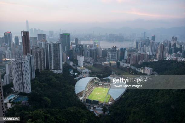 The Hong Kong Stadium is seen from above during the Cathay Pacific / HSBC Hong Kong Rugby Sevens on 29 March 2015 in Hong Kong China