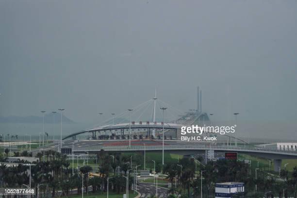 The Hong KongZhuhaiMacau Bridge is seen from Zhuhai Port Passenger Clearance Building on October 24 2018 in Zhuhai China The world's longest sea...