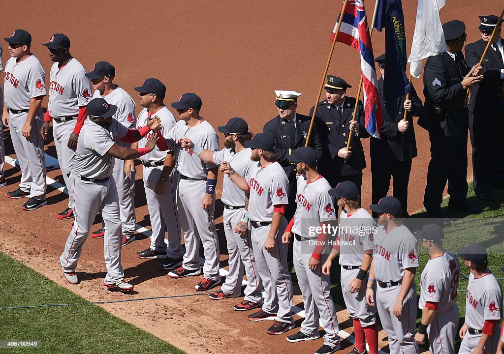 The honor guard watches as the Boston Red Sox are introduced before the game against the Philadelphia Phillies during Opening Day at Citizens Bank Park on April 6, 2015 in Philadelphia, Pennsylvania.