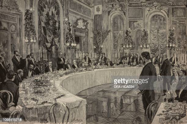 The Honorable Agostino Magliani giving a speech during a political banquet Naples Italy engraving by Ernesto Mancastropa from a drawing by Edoardo...