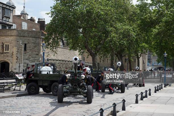 The Honorable Artillery Company arrive to fire a gun salute from Gun Wharf at the Tower of London on June 03 2019 in London England The company fired...