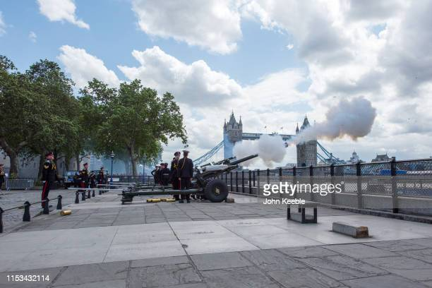 The Honorable Artillery Company fire a gun salute from Gun Wharf at the Tower of London on June 03 2019 in London England The company fired a 41 gun...