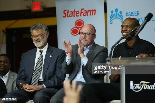 The Honorable Frank Jackson Mayor of Cleveland General Manager David Griffin and James Jones of the Cleveland Cavaliers at the 2017 NBA Finals Cares...
